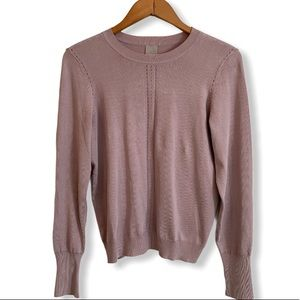 NWT Purple fine knit sweater pearls on sleeves XS
